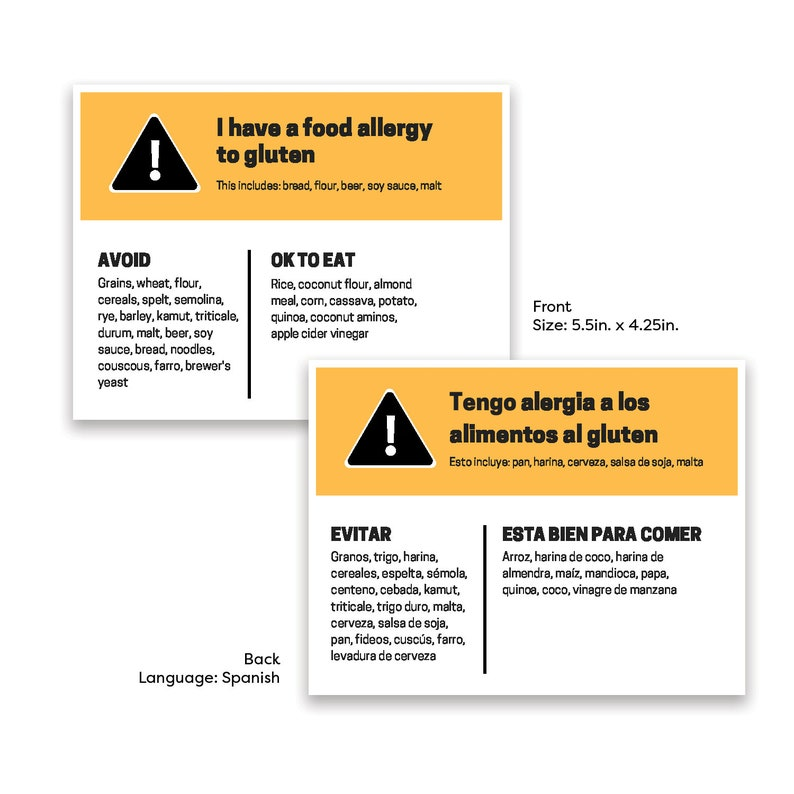 Food Allergy Card  Gluten  English and Spanish image 0