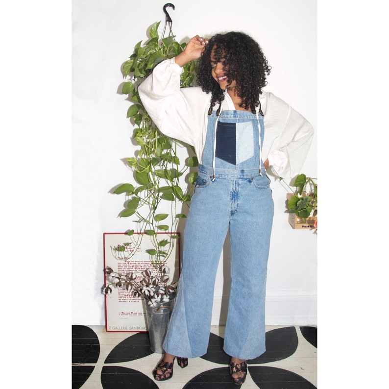 1980s Clothing, Fashion | 80s Style Clothes Upcycled suspender straps denim overalls $150.00 AT vintagedancer.com