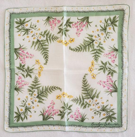 Vintage Designer  Carolyn Schnurer Floral Hankie L