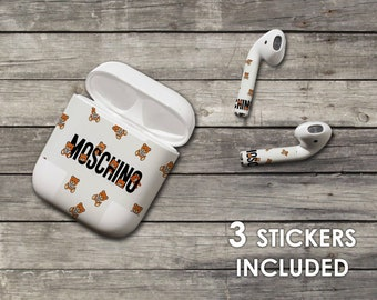 6ea10e955d3 Inspired by Moschino AirPod Skin AirPod Stickers Apple Decal Brand AirPod  case Bright AirPod Colorful Skin Stickers Apple White vynil skin