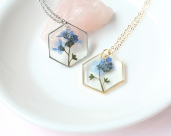 Pressed Flower Necklace, Hexagon Forget-Me-Not, Gold or Silver, Dried Floral Jewelry, Blue Forget Me Not Flower, Resin Plant Jewelry, Nature
