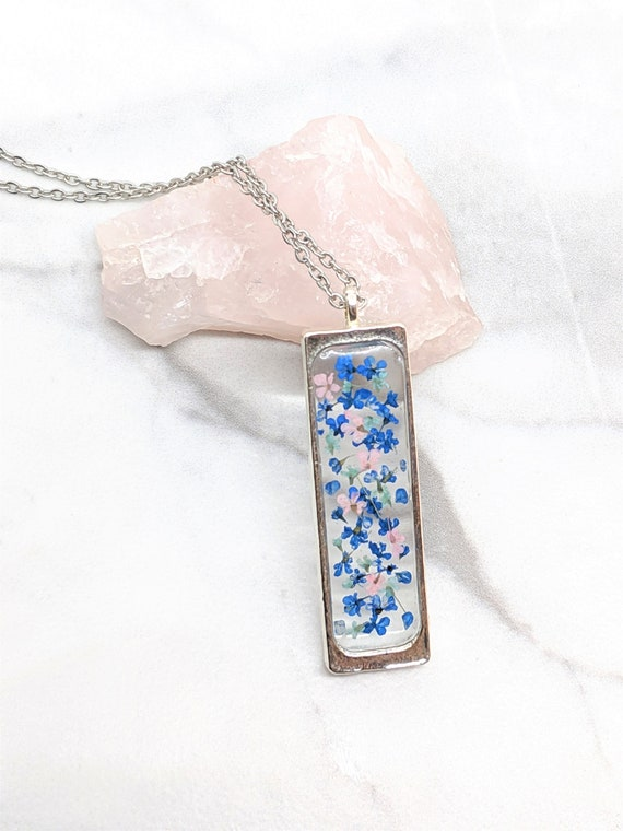 Handmade Resin Pendant Pressed Pink Blue Lace Necklace Real Dry Flower Jewellery