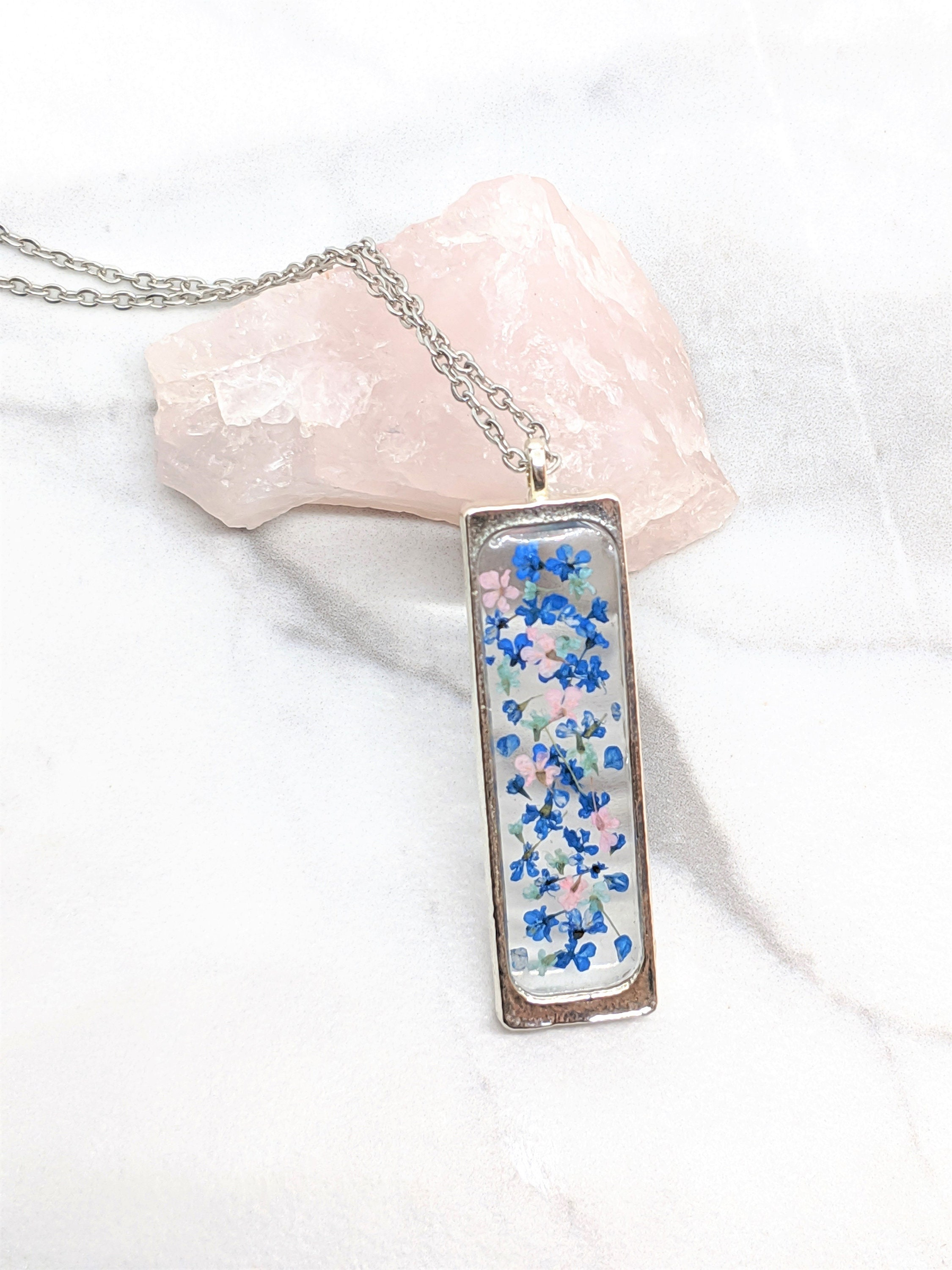 Real Pressed Flowers Tear Drop Pendant on Leather Cord Necklace Jewelry Gift A66
