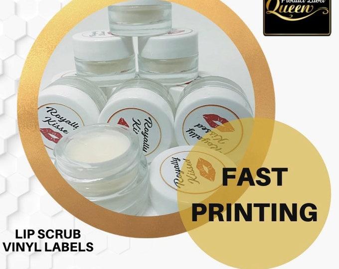 Round costmetic, lip scrub, lip balm labels