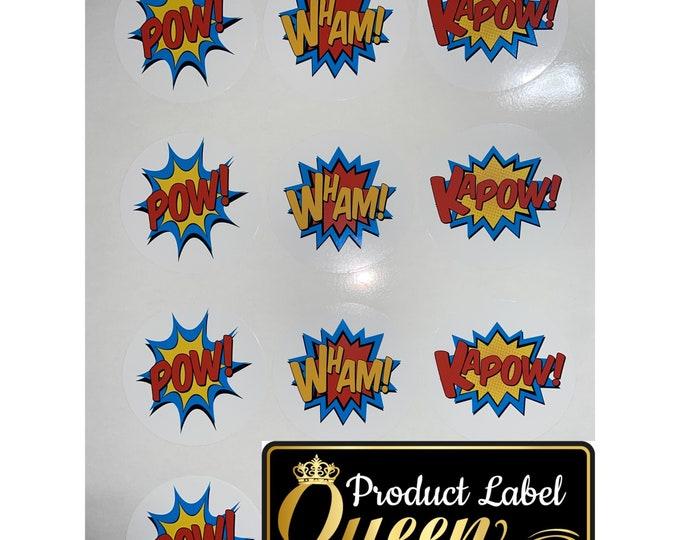 Super Hero Birthday Party Stickers
