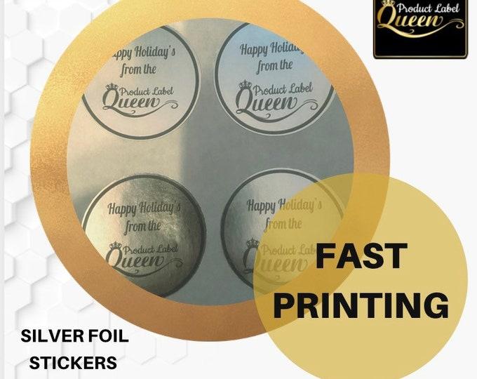 Candle Labels, Silver Foil (100 Circle)