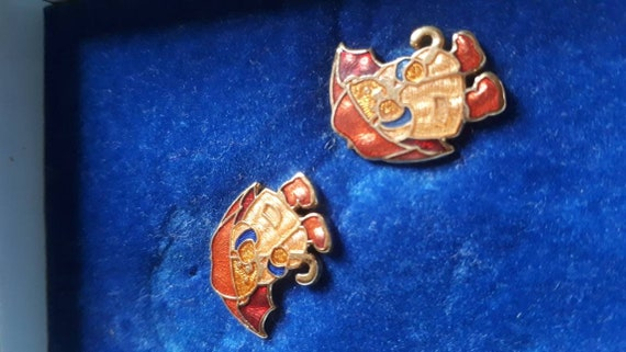 Prue Theobalds  Teddy Bears earrings enamel Fish.
