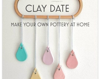 CLAY DATE pottery at home kit, air-dry clay craft kit, set of 3 make your own pottery modelling projects for beginners.