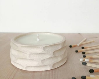 SMALL candle, vegan soy wax in carved ceramic pot (horizontal brick carve)