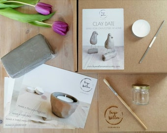Home pottery kit, CLAY DATE air-dry clay starter kit, set of 4 make your own pottery modelling projects for beginners.