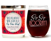 """Sip Sip Hooray! 15oz Stemless Wine Glass   """"She Believed She Could.."""" Scented Soy Wax Candle   Orange, Mango, Goji Berry   Spa Gifts for Her"""