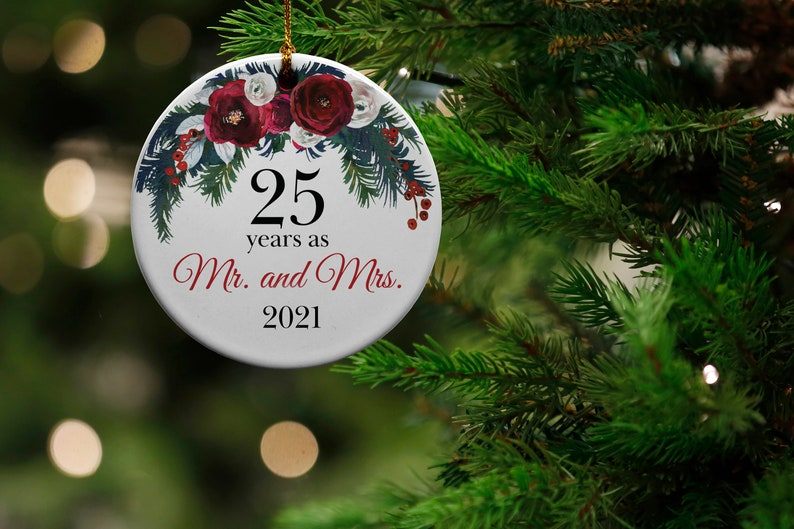 25 Years Mr 25th Anniversary Gift and Mrs Ceramic Christmas Tree Ornament Wedding Anniversary Present Collectible Holiday Keepsake