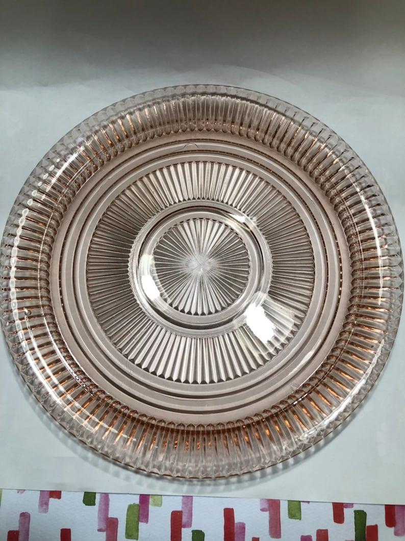 Vintage Pink Depression Era Glass Serving Plate with Handles