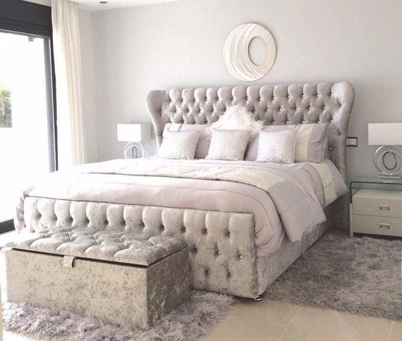 NEW JESSY DIVAN BED WITH DRAWS AND CHESTERFIELD HEADBOARD 3FT 4FT 5FT