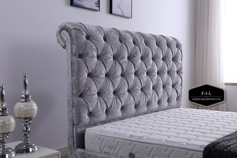 Incredible Sleigh Ottoman Gaslift Bedframe Plush Velvet Double Bed Kingsize Bed Silver Plush Velvet Storage Bedframe Short Links Chair Design For Home Short Linksinfo