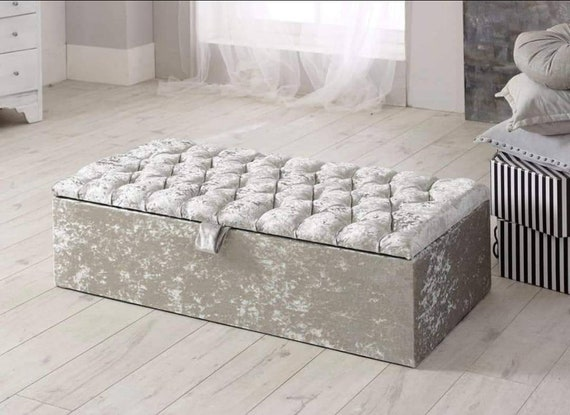 Fabulous Crushed Velvet Wide Ottoman Storage Box Pouffe Footstool Blanket Box Ncnpc Chair Design For Home Ncnpcorg