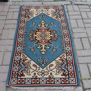 3.1 x 1.10 Feet Handmade Accent Rug Vintage Door Mat Oushak Turkish Anatolian Handwoven Antique Carpet Boho Homedecor Kilim 95x57 Cm
