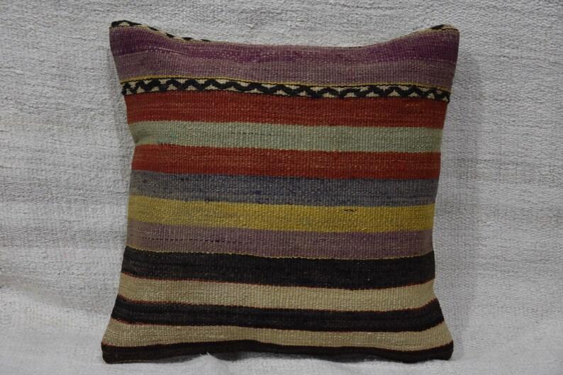 Carpet Kilim Rug Kilim Turkish Kilim Rug 16x16 inch 425- Turkish Anatolian Kilim Pillow Kilims 40x40cm Rugs Pillow