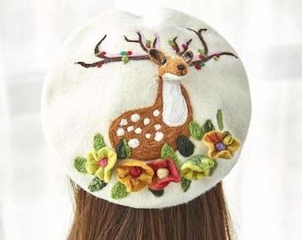 d70c9d430fee7 Handmade Wool Felt Reindeer Beret - White