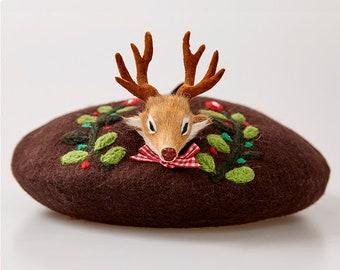54698864a943a Handmade Wool Felt Reindeer Beret - Brown