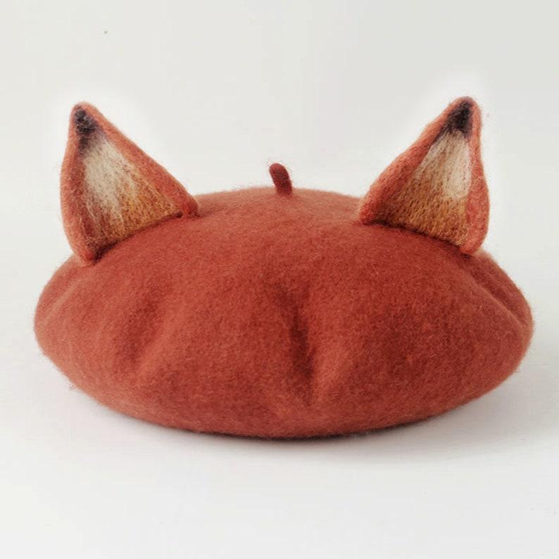 7ed0375a8e2c7 Handmade Wool Felt Animal Beret Fox Ears Adult   Child