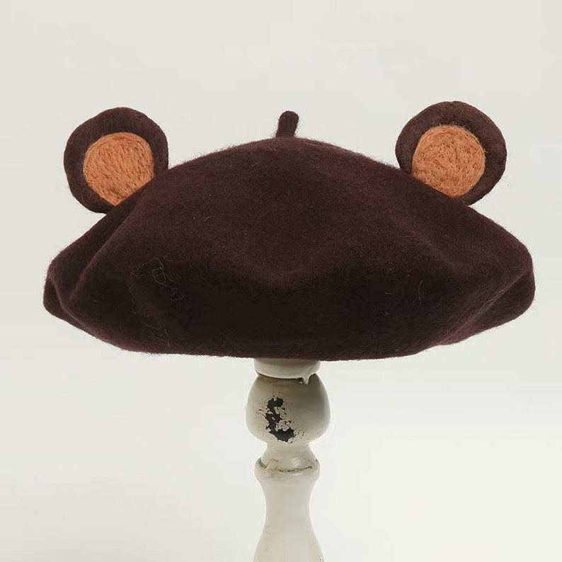724416efcdec4 Handmade Wool Felt Animal Beret Teddy Bear Ears