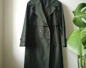 Vintage 1990s Ladies Forest Green Oversized Mackintosh Trench Coat M L