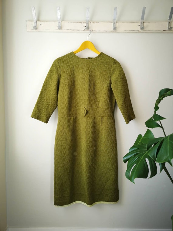 Fresh 1960s Crimplene Mod Dress By /'Mademoiselle/' A-Line in mouth watering Lemon and Lime uk M