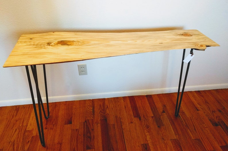 Magnificent Narrow Console Table Live Edge With Hairpin Legs A Natural Slab Of Blue Stained Pine Perfect As Bar Entry Occasional Or Sofa Table Machost Co Dining Chair Design Ideas Machostcouk