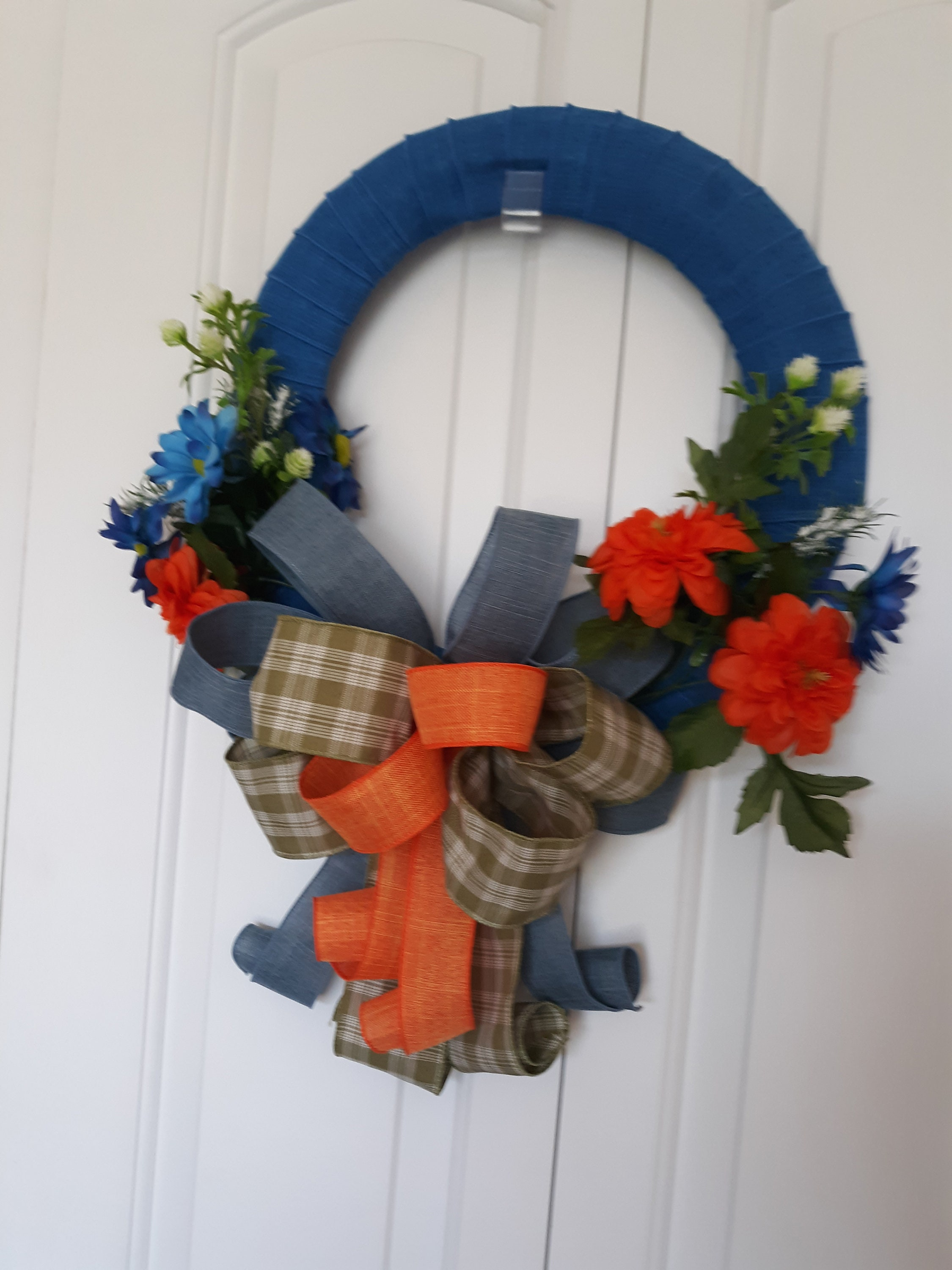 Fall Ribbon Wreath With Bow Simple Wreath For Front Door Etsy