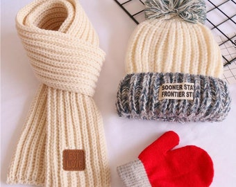 844bcc48a5681 Kids 3-Pieces Hand-Made Knit Hat + Scarf + Gloves Set Winter Warm Set for  Boys Girls