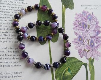 45mm Rose and Purple Stripes Agate Gemstone Pendant Bead