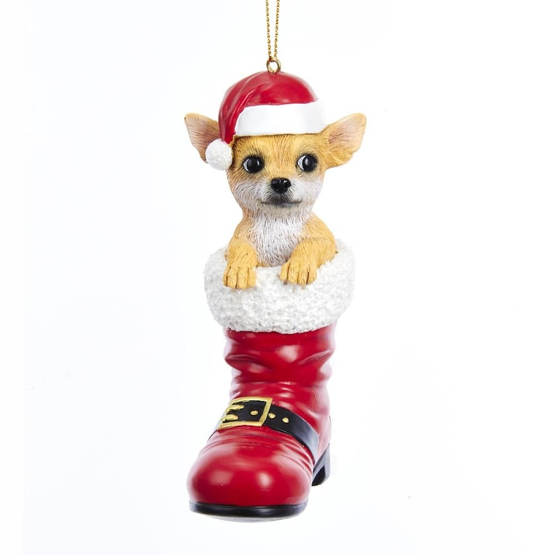Chihuahua In Santa Boot Christmas Ornament Hand Painted Resin Etsy