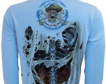 Steel Skeleton Back UPF Fishing Shirt Men's Long Sleeve Performance by Rattlin Jack®