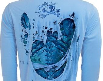 Water Bones Back Only UPF Fishing Shirt Men's Long Sleeve Performance by Rattlin Jack®