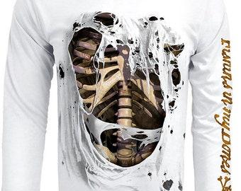 Men's Bone Skeleton UPF 50 Fishing Shirt Long Sleeve Performance by Rattlin Jack®