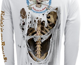 Bone Skeleton Back Only UPF Fishing Shirt Men's Long Sleeve Performance by Rattlin Jack®