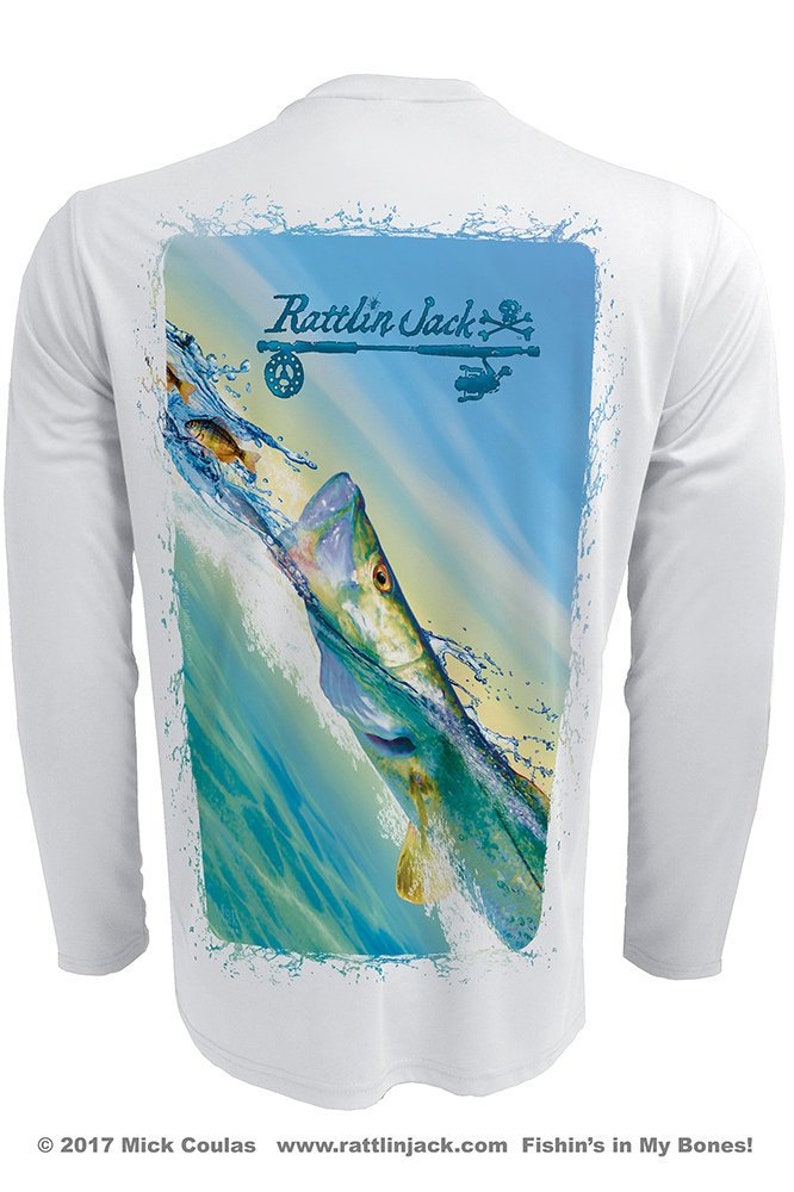 Men's Colorful Snook UPF 50 Fishing Shirt Long Sleeve image 0