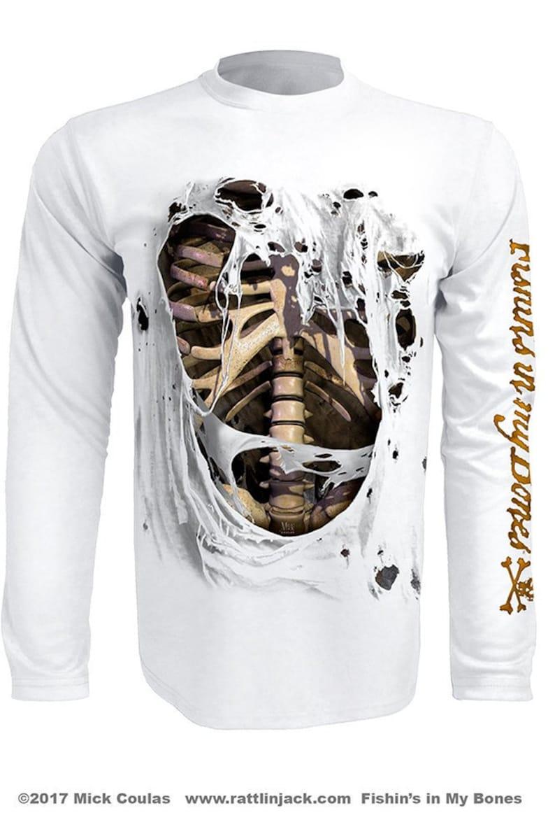 Men's Bone Skeleton UPF 50 Fishing Shirt Long Sleeve image 0
