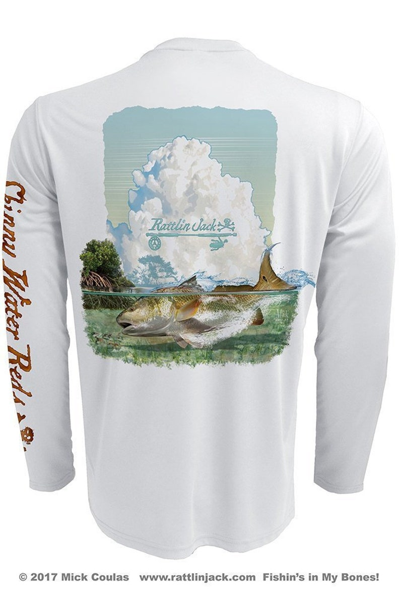 Men's Realistic Redfish UPF 50 Fishing Shirt Long Sleeve image 0