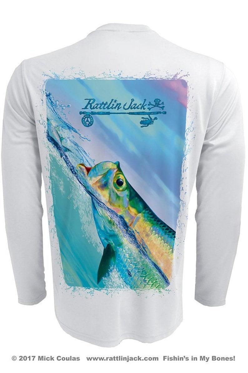 Men's Colorful Tarpon UPF Fishing Shirt Long Sleeve image 0