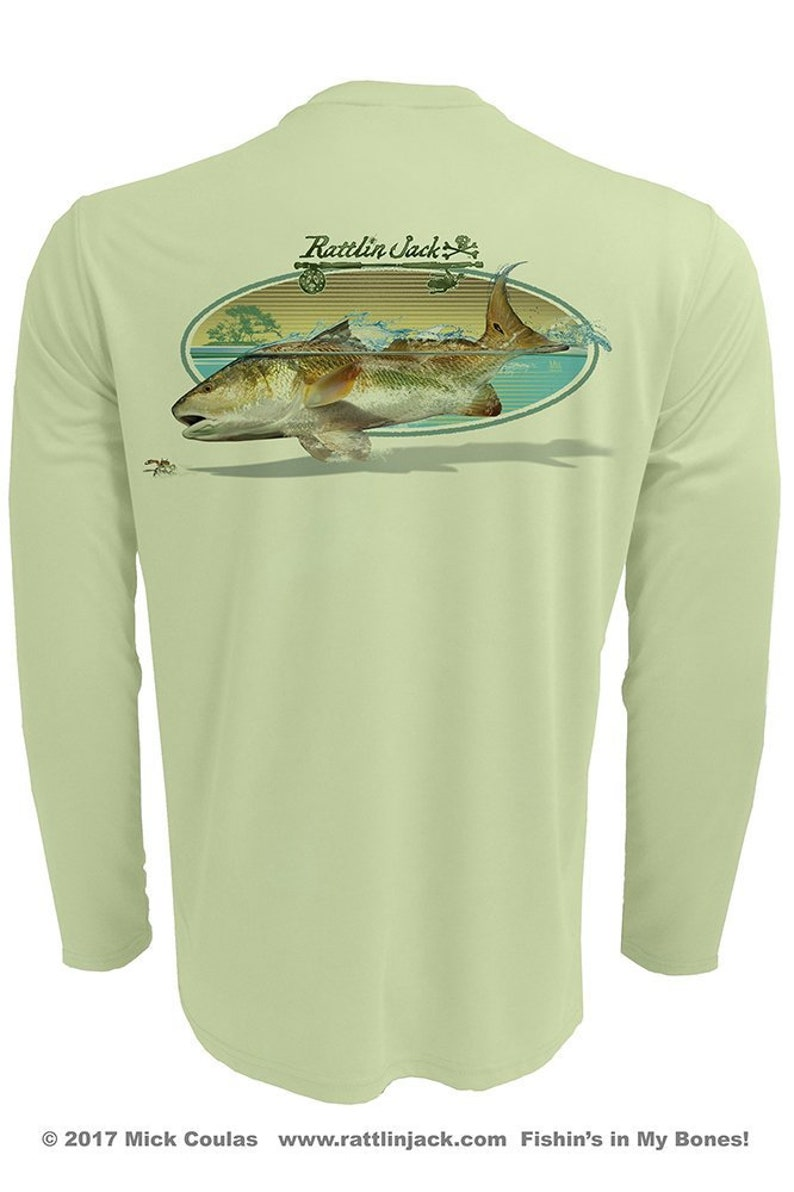 Men's Redfish Oval UPF 50 Fishing Shirt Long Sleeve image 0