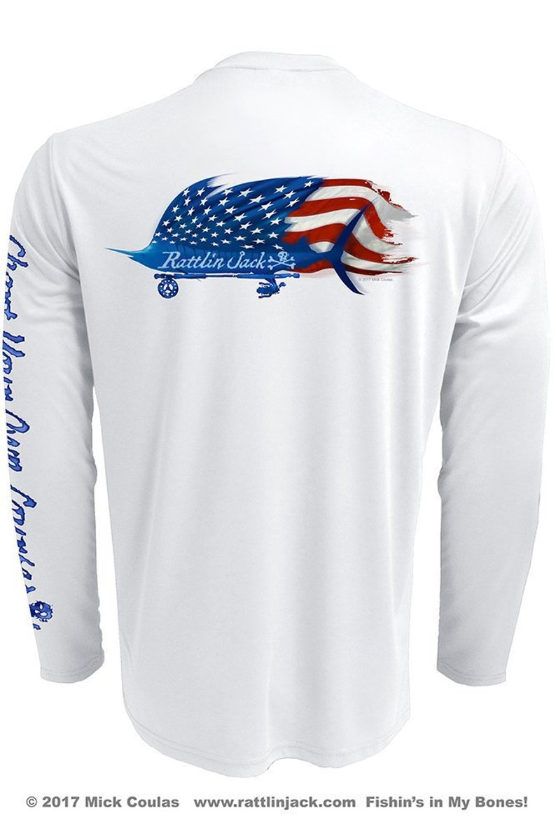 Graphic Sailfish Flag UPF Fishing Shirt Men's Long Sleeve image 0