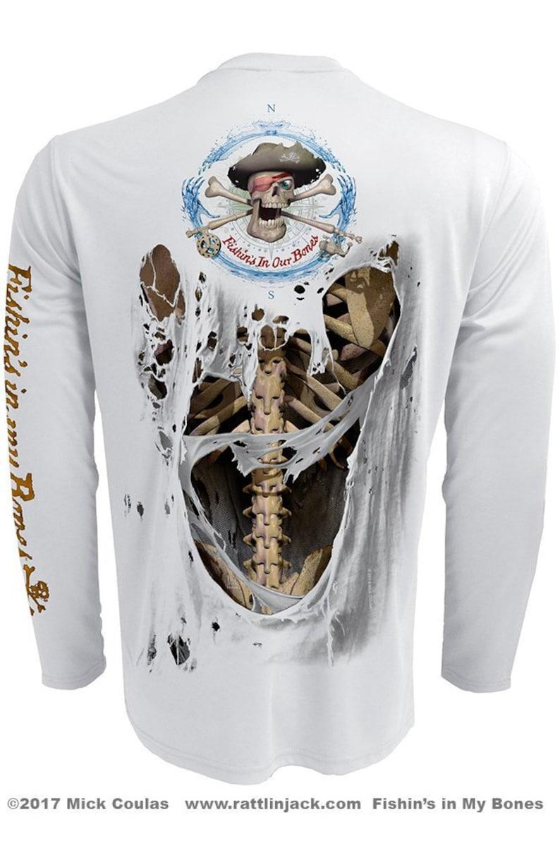 Bone Skeleton Back Only UPF Fishing Shirt Men's Long image 1