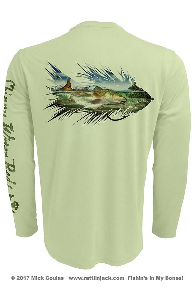 Redfish Fly Silhouette UPF Fishing Shirt Men's Long Sleeve image 0