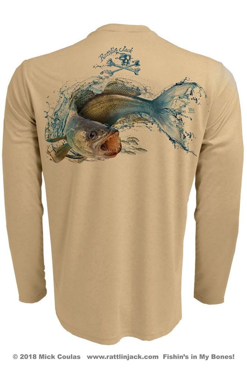 Mens Walleye Pickerel UPF 50 Fishing Shirt Long Sleeve image 0