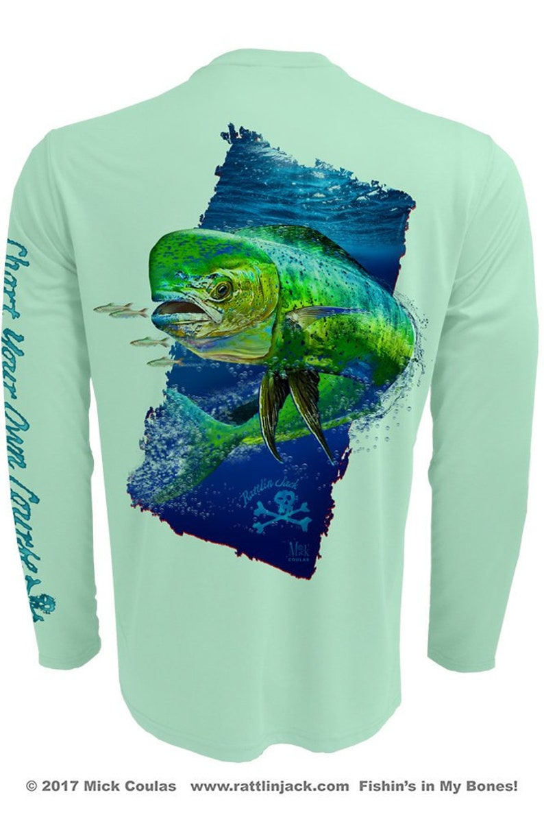 Men's Deep Water Dorado UPF Fishing Shirt Long Sleeve image 0