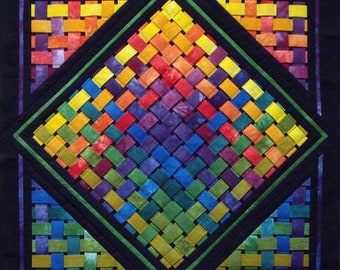 """Woven Rainbow, digital download, prints on 8.5 """" by 11"""", and regular A4, Your finished product 21"""" by 21"""", Made in Canada."""