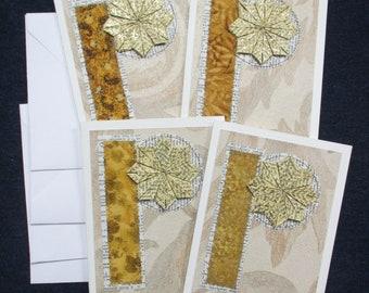 Set of 4 Multi Media Greeting Cards, Blank inside + Envelopes