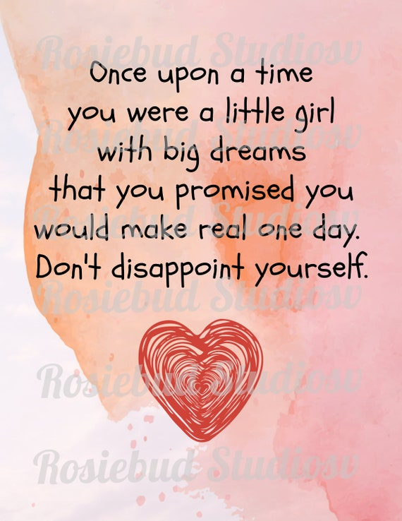 Once upon a time/little girl with dreams quote / Printable / Instant  Download